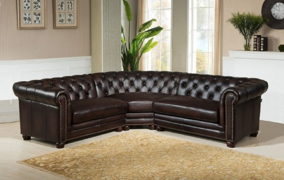 Kennedy Tufted 100% Leather Sectional Set