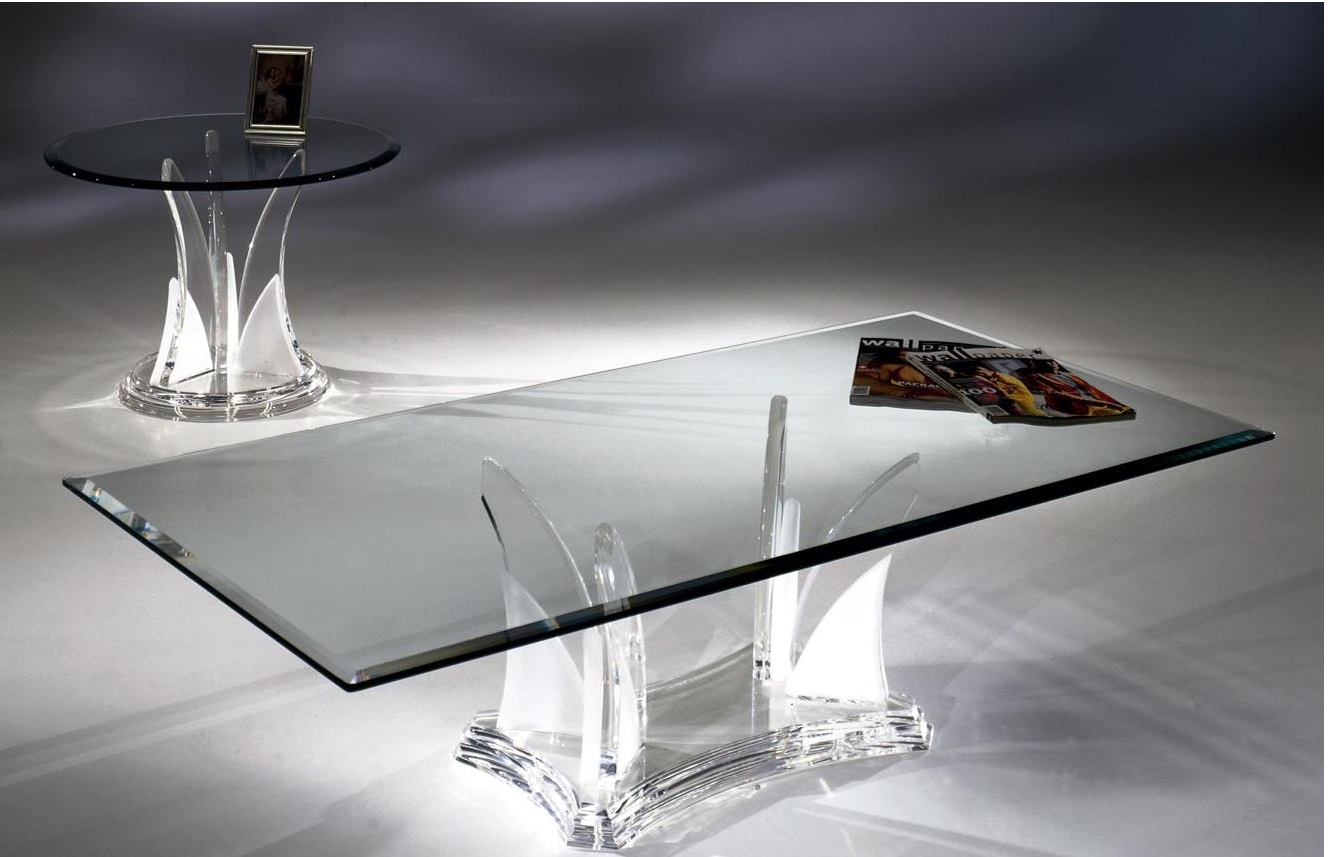 Clear Acrylic Butterfly Coffee Table With Glass Top Usa Furniture Online