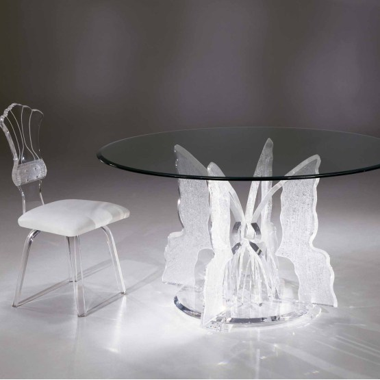 Clear Acrylic Butterfly II Round Dining Table