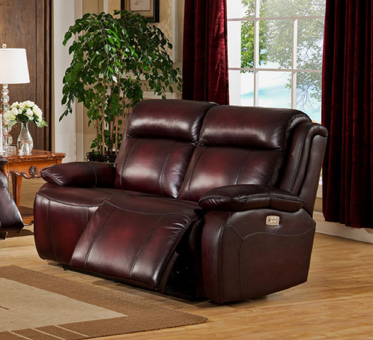 Pleasant Faraday Two Tone Top Grain Leather Power Reclining Loveseat Inzonedesignstudio Interior Chair Design Inzonedesignstudiocom