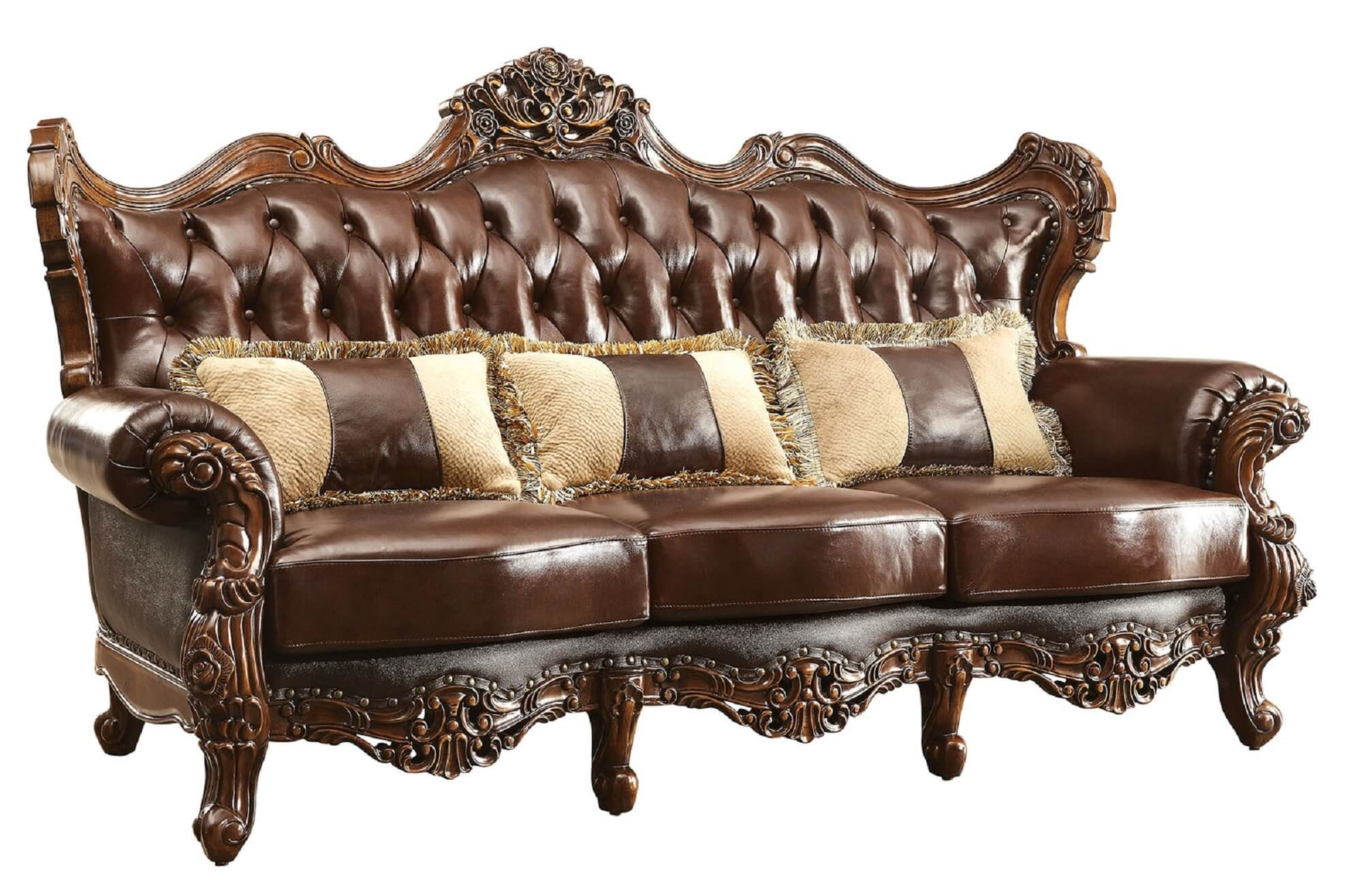 Beau Jericho Wood Trim Leather Sofa CM6786 SF