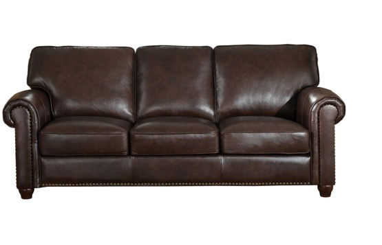 Jane Furniture Barbara Dark Brown Leather Sofa