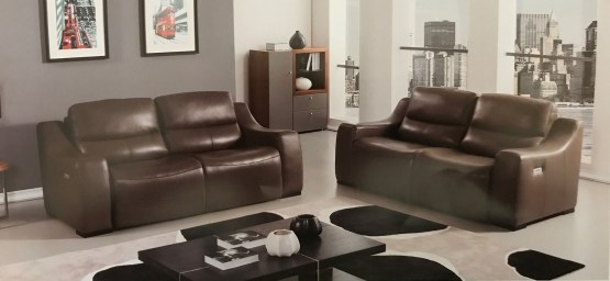 Avana Taupe Full Italian Leather Power Recliner Set