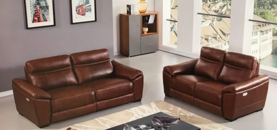 Forma Brown Full Italian Leather Power Recliner Set