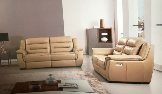 Lago Full Italian Tan Leather Power Recliner Set