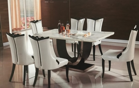7 Piece Momo Marble Dining Set
