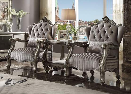 3 Piece Versailles Antique Platinum Accent Chair - End Table