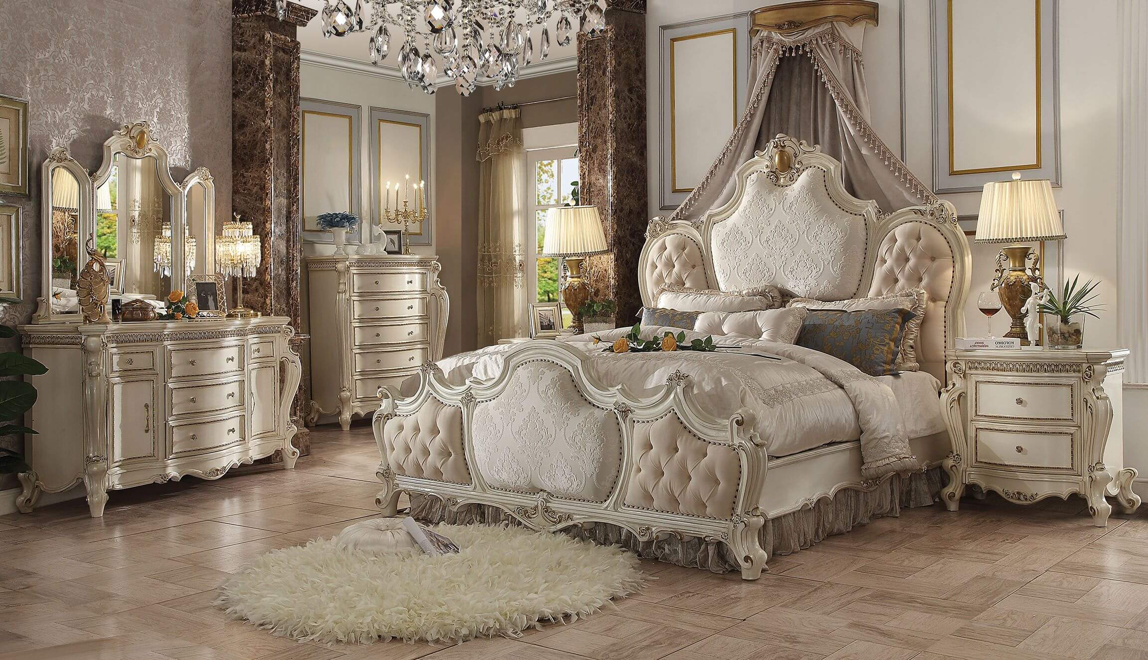 4 Piece Picardy Antique Pearl Bedroom Set ACME-26880Q • USA ...