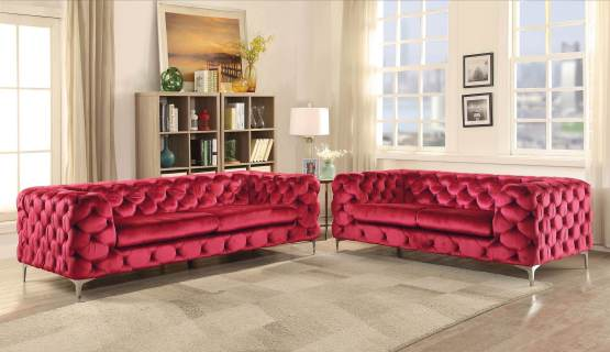 Adam Red Velvet Tufted Sofa Acme 52795 - USA Furniture Online