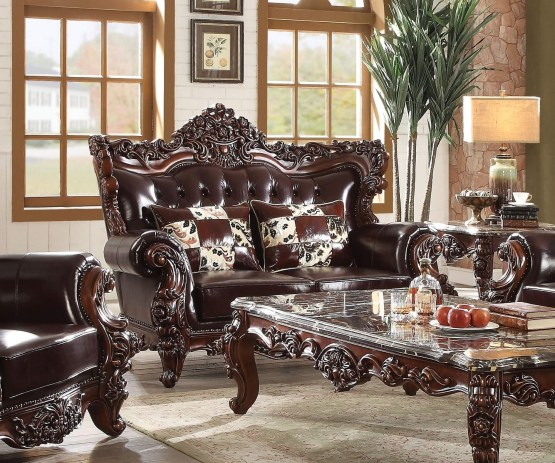 Acme Forsythia Traditional Leather Loveseat