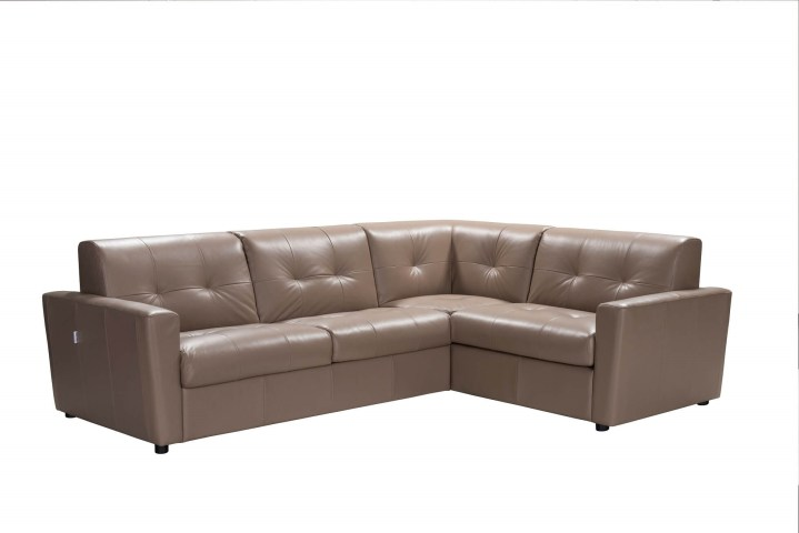 Sogna Taupe Italian Leather Sectional Sofa Bed - Made in Italy