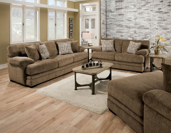 2 Piece Abrianna Brown Sofa Set