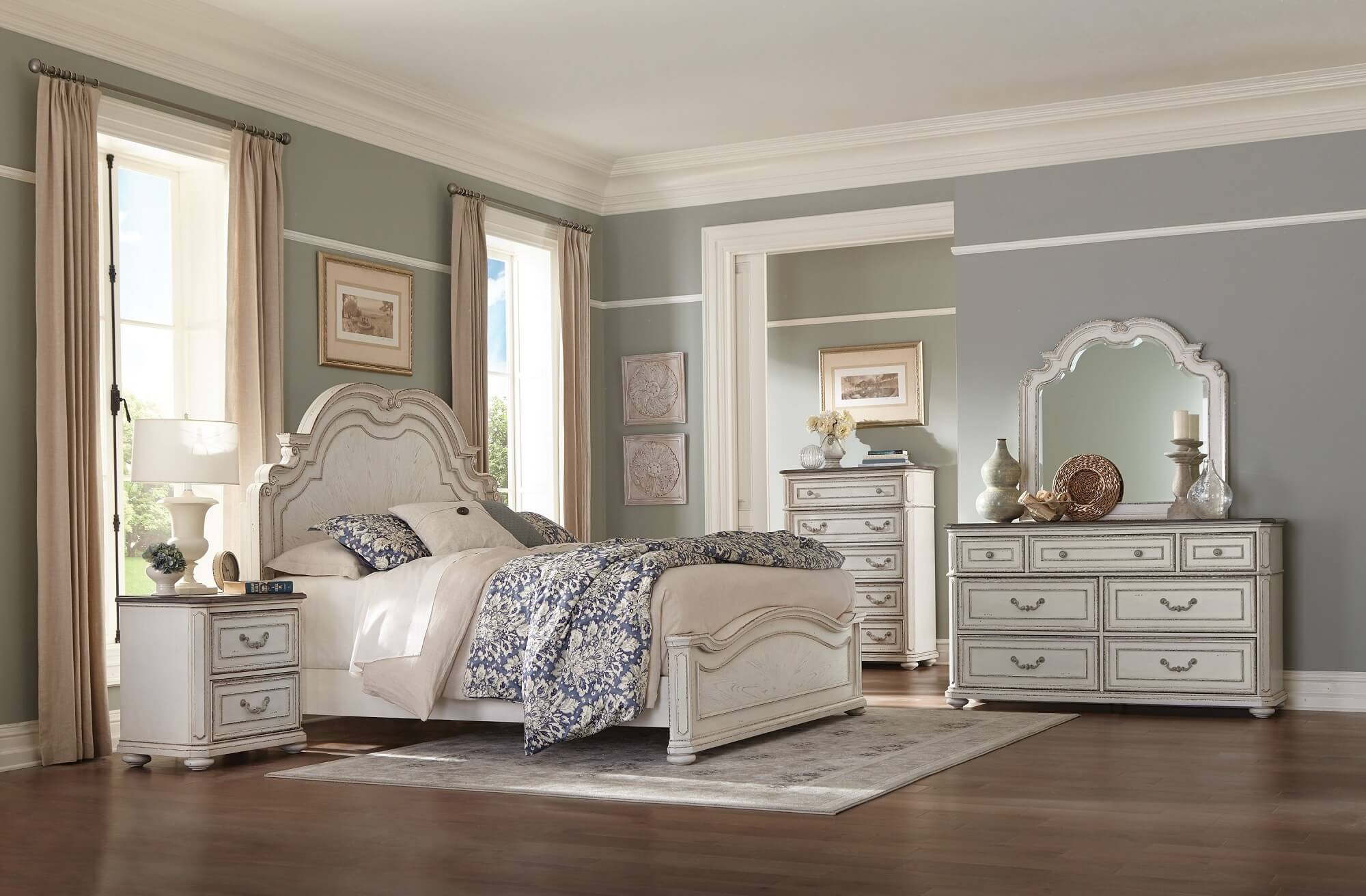 4 Piece Willowick Panel Bedroom Set Antique White Usa Furniture