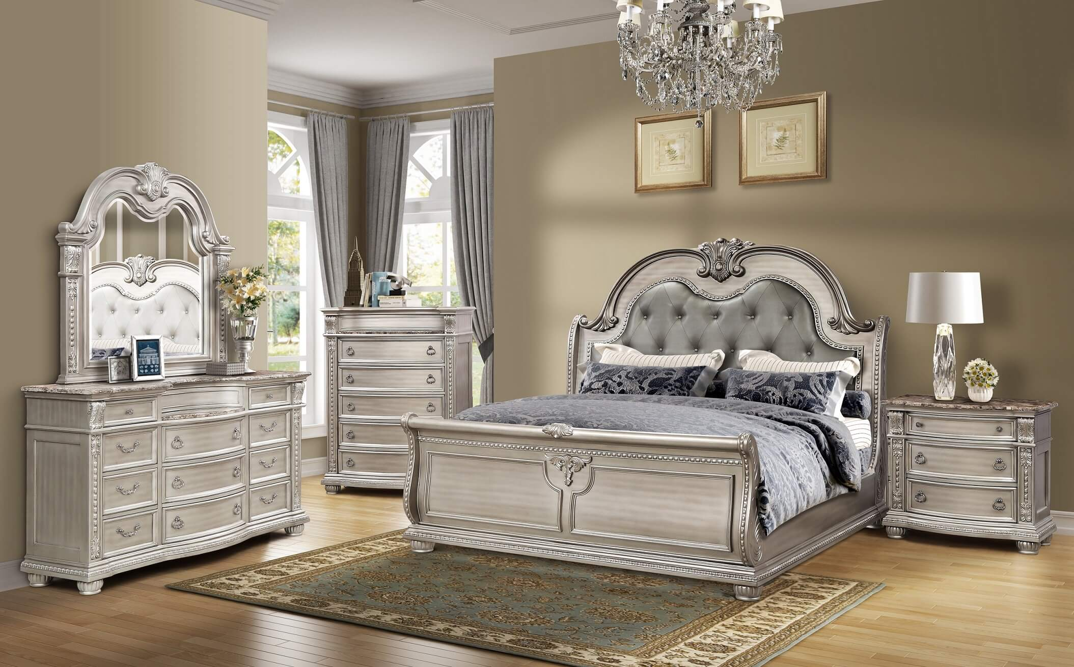 Mcferran B9506 Catalina 3 Drawer Nightstand With Marble Top