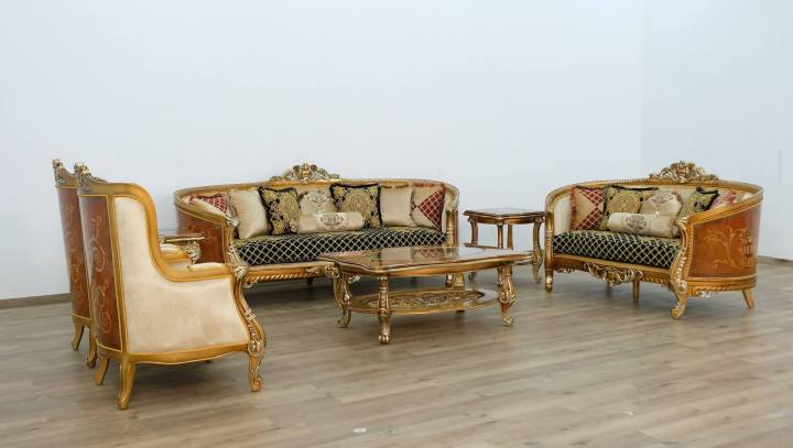 Luxor II Wood Trim Sofa Set Black Gold