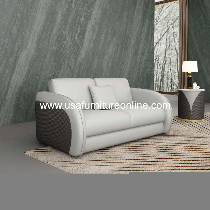 European Furniture Noir Contemporary Loveseat Gray Leather