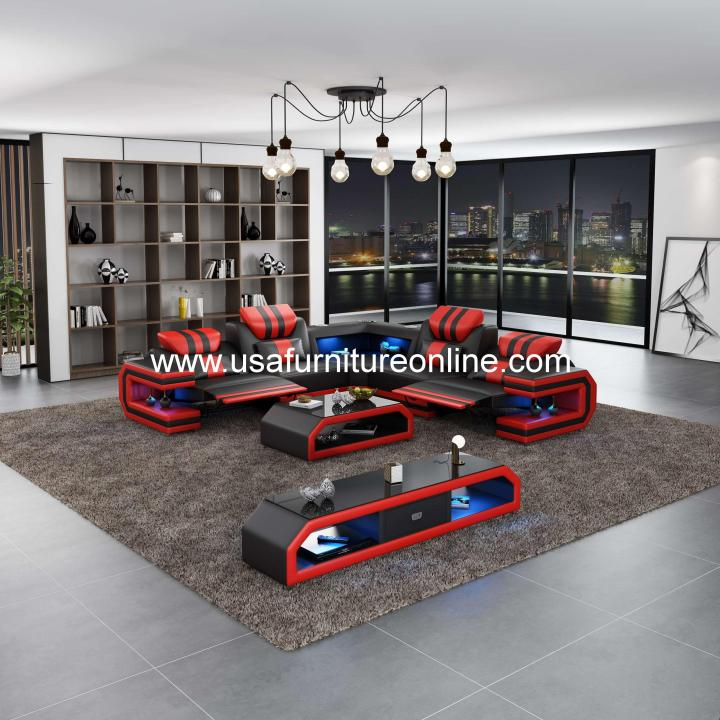 Lightsaber LED Sectional Dual Recliners Italian Leather Black & Red