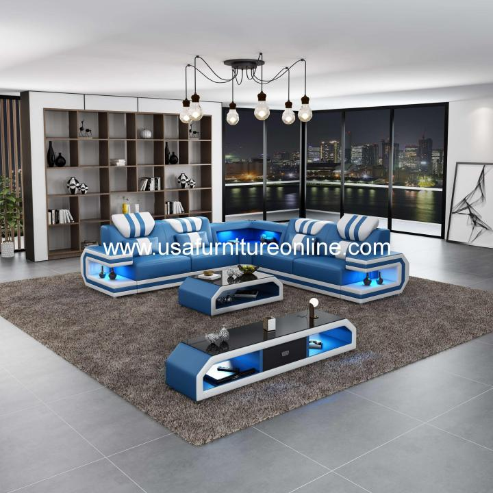Lightsaber LED Sectional Italian Leather Blue & White