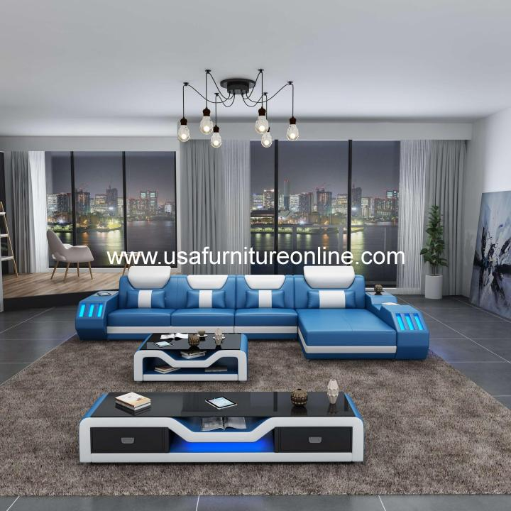 Starfighter LED Sectional Italian Leather Blue & White