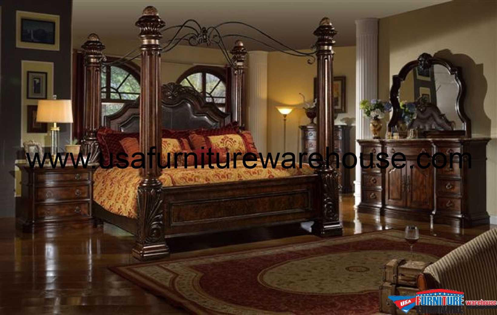 Mcferran Castellino Leather Poster Bedroom Set B