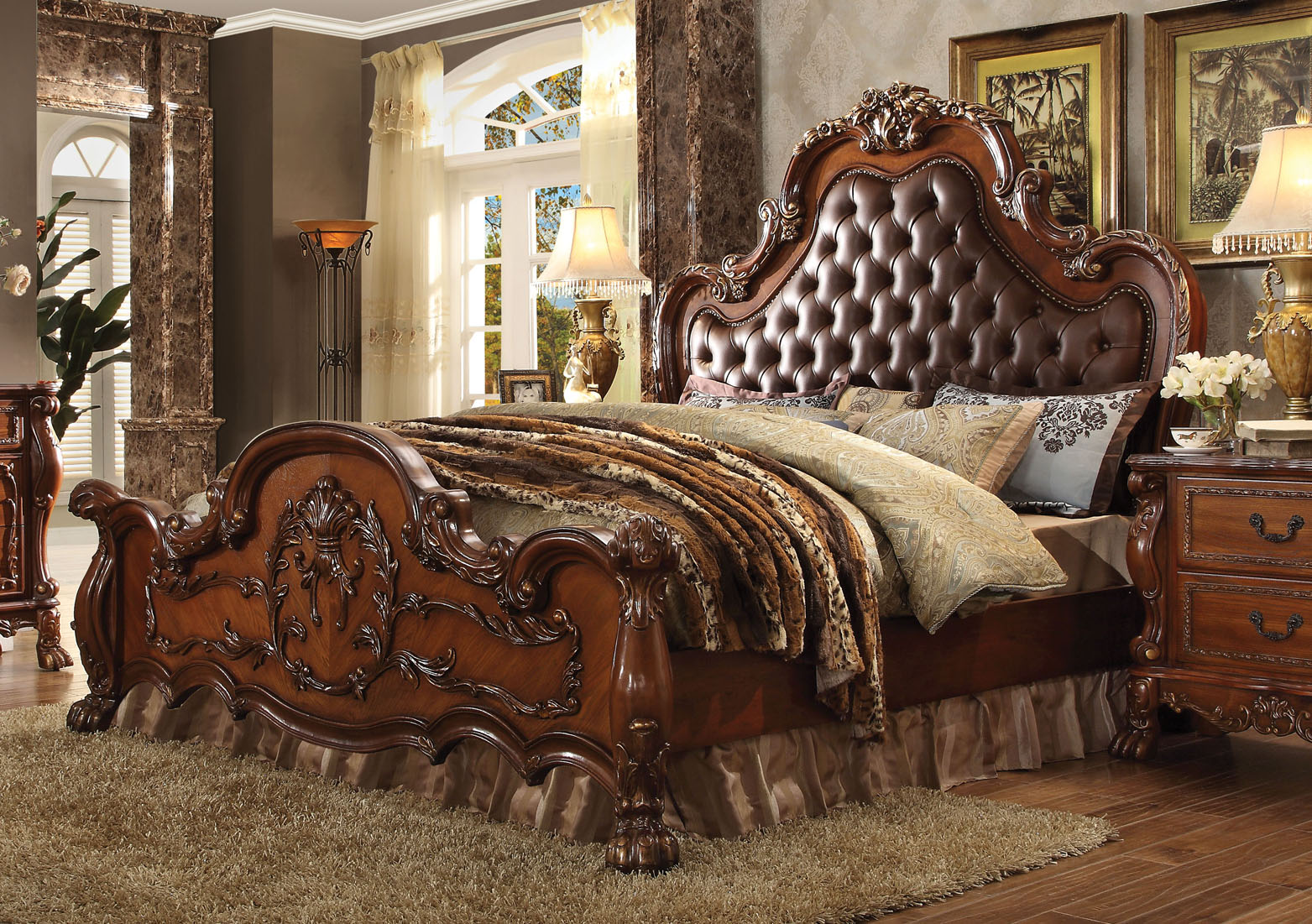 4 Pc Acme Dresden Tufted Bedroom Set In Cherry Finish