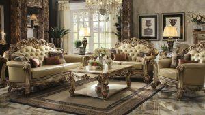 Gold Patina Vendome Royal Living Set By ACME Furniture