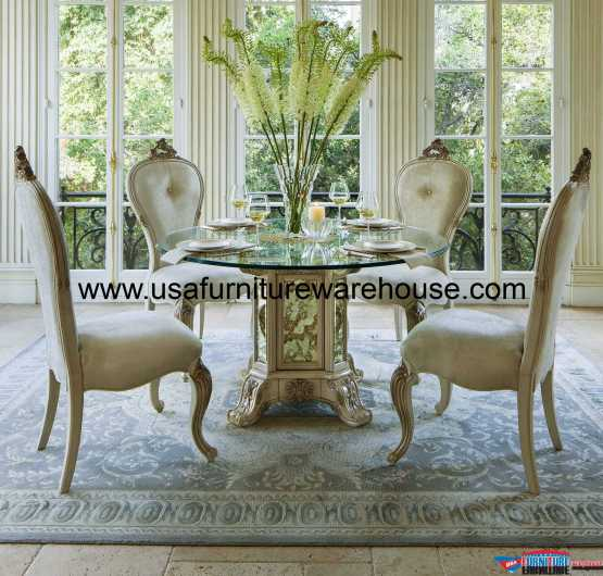 AICO Platine De Royale Round Glass Top Dining Set