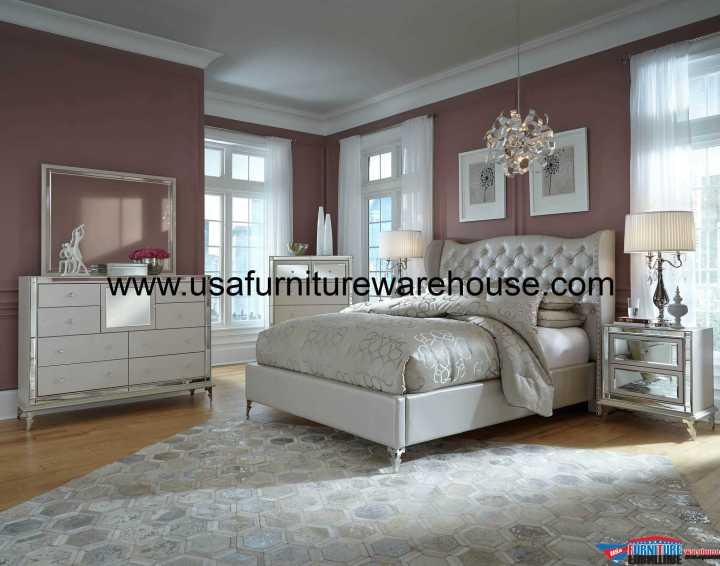 AICO Hollywood Loft Frost Upholstered Platform Bedroom Set