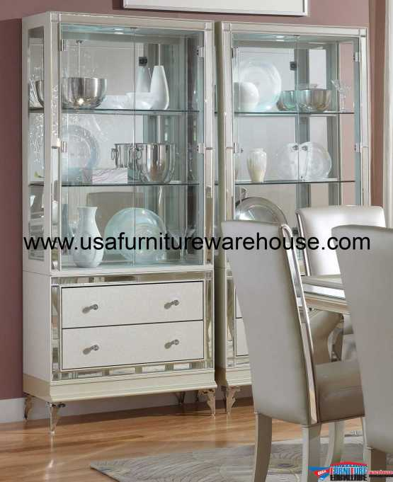 AICO Hollywood Loft Pearl Curio
