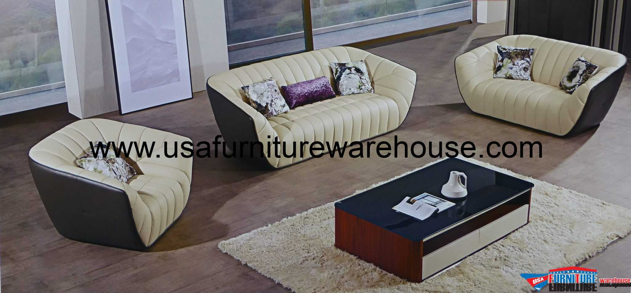 Forma 3 Piece Italian Top Grain Cream Taupe Leather Sofa