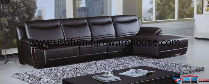 Opus Black Leather Wood Trim Modern Sectional Set