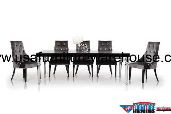 A&X Baccarat Black Crocodile Lacquer Modern Dining Set