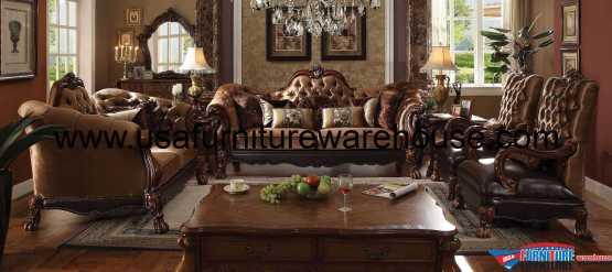 acme Dresden Sofa Set Golden Brown Velvet