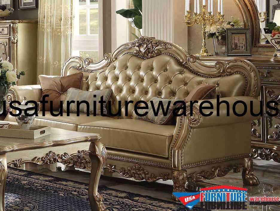 Dresden Wood Trim Gold Patina Leather Sofa - USA Furniture Warehouse