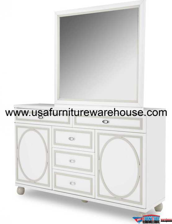 AICO Sky Tower Cloud White Dresser