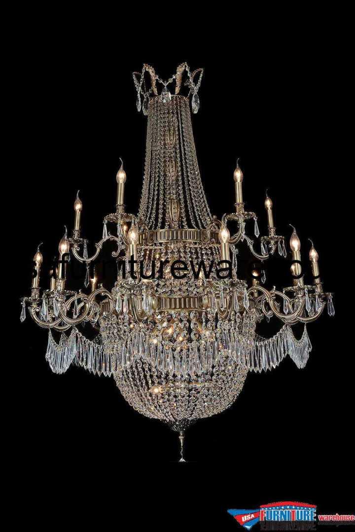 24 Light Summer Palace Chandelier Clear Glass & Antique Brass