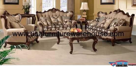 Sophie Wood Trim Fabric Sofa Set