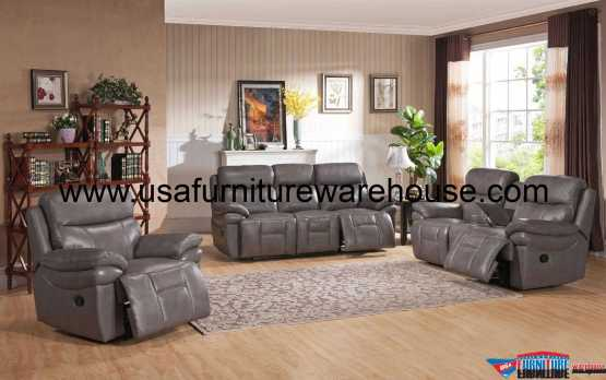 Summerlands Top Grain Leather Reclining Set