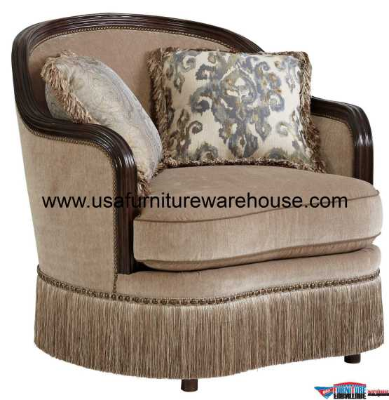 Giovanna Azure Wood Trim Chair