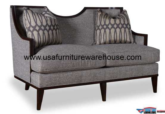 Intrigue Harper Wood Trim Mineral Loveseat