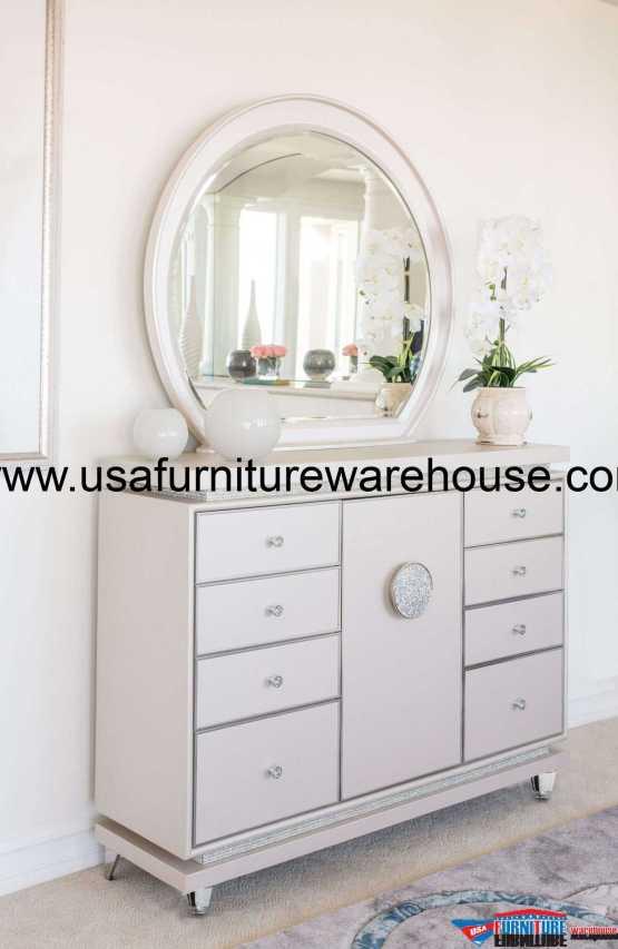 AICO Glimmering Heights Drawer Dresser & Mirror