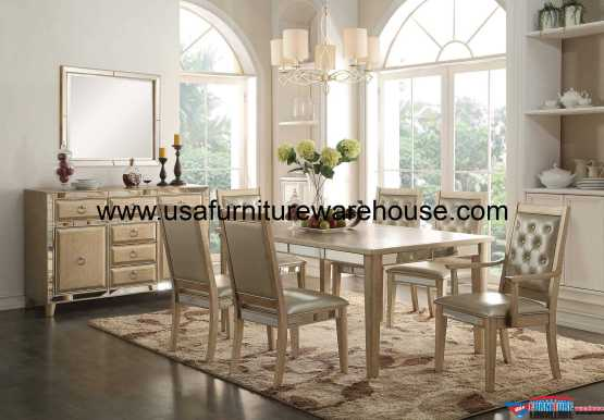 Acme Voeville Mirrored Dining Set