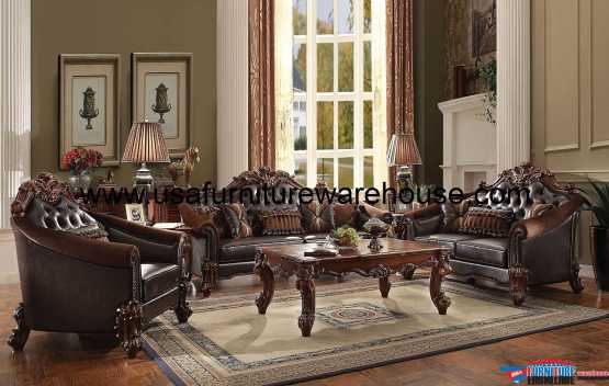 Vendome II Sofa Set Cherry Finish