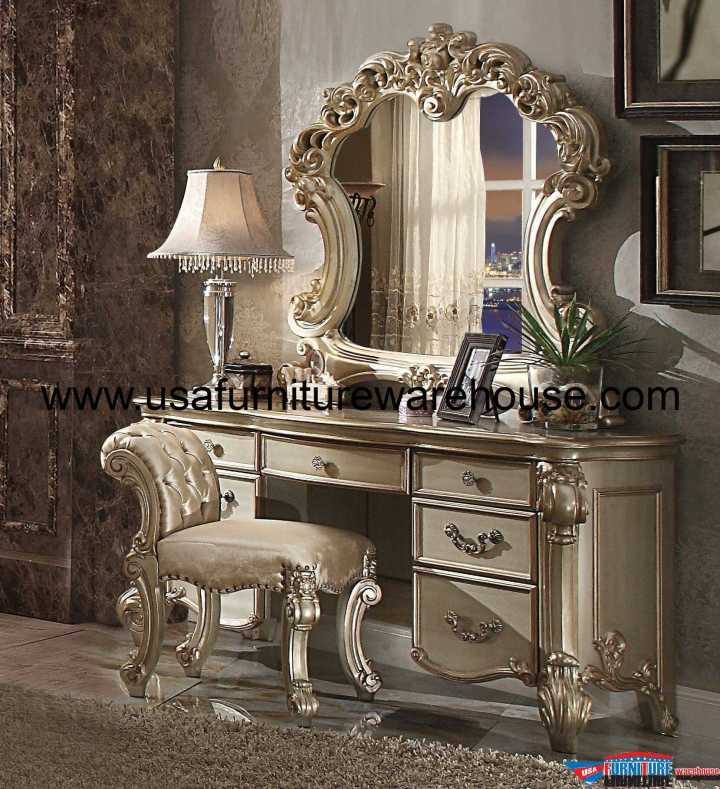 3 Piece Acme Vendome Gold Patina Vanity Set