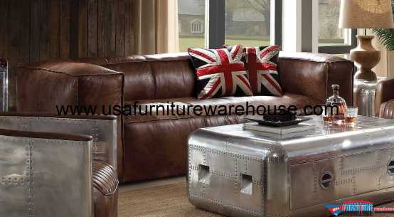Brancaster Top Grain Brown Leather Sofa