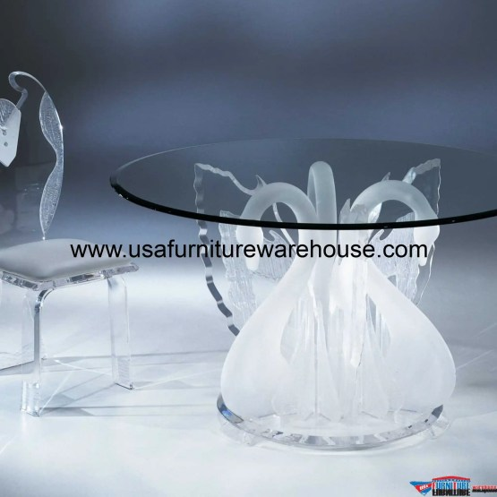 Acrylic Clear Legend Swan Round Dining Table