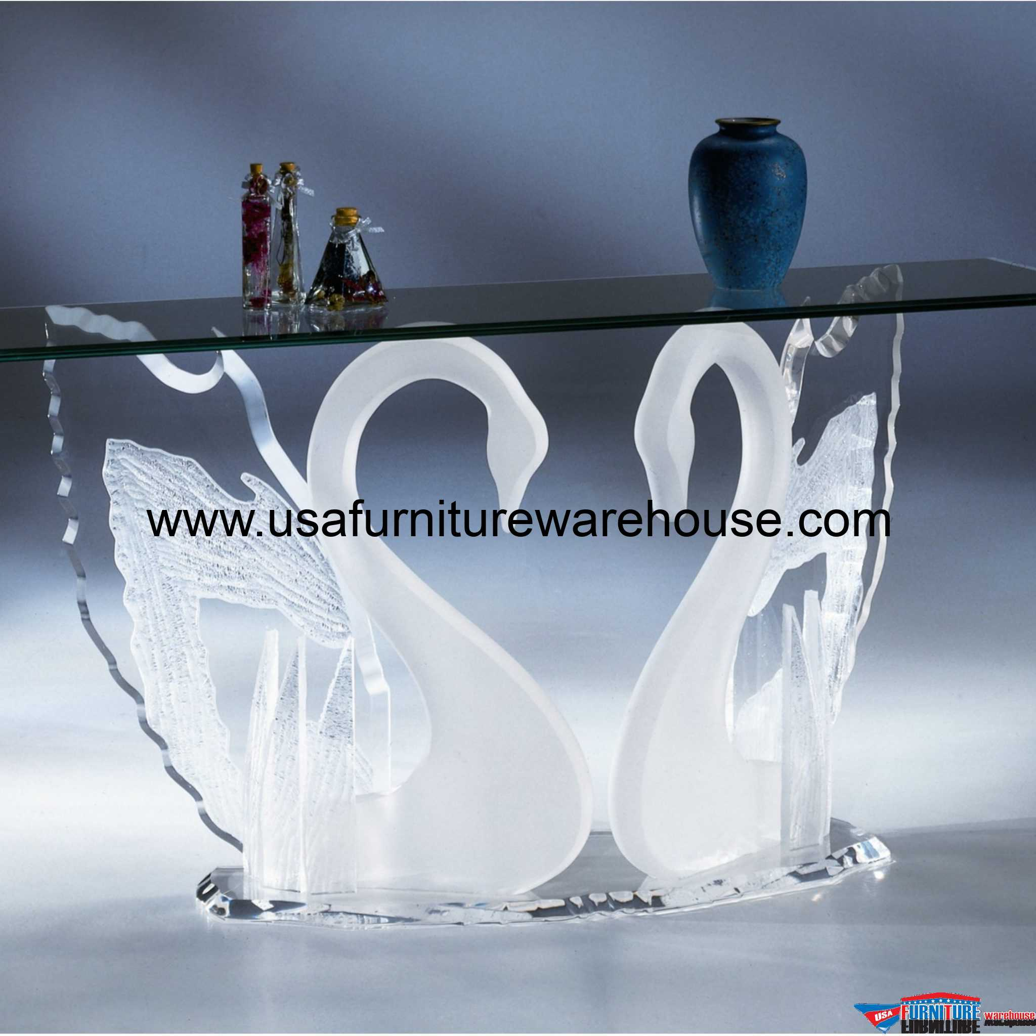 Acrylic Clear Legend Swan Sofa Table With Glass Top - USA ...