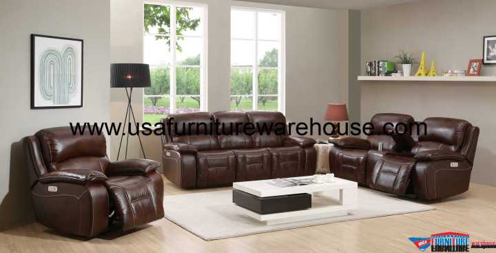Westminster Genuine Leather Power Reclining Set