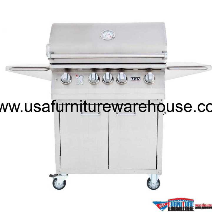 Lion - L75000 32-Inch 4 Burners Premium Grills Stainless Steel Cart