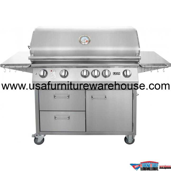 Lion - L90000 40-Inch 5 Burners Premium Grills Freestanding Cart